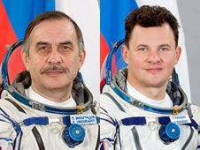 Expedition 35 Flight Engineers Pavel<br /> Vinogradov (left) and Roman Romanenko<br /> will participate in a six-hour spacewalk<br /> Friday.<br /> Credit: NASA