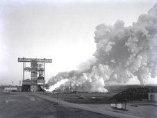 The test laboratory of the Marshall<br /> Space Flight Center (MSFC) tested the<br /> F-1 engine, the most powerful rocket<br /> engine ever fired at MSFC.<br /> (NASA/MSFC)