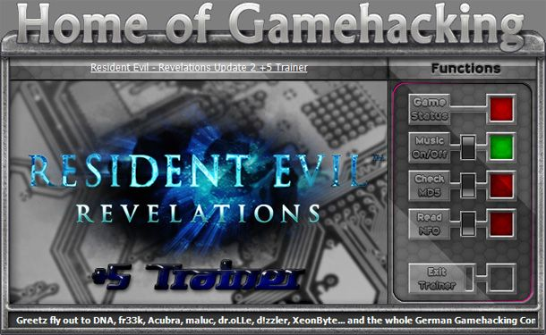 Resident Evil: Revelations HD 1.0-Update 2 +5 Trainer [HoG]